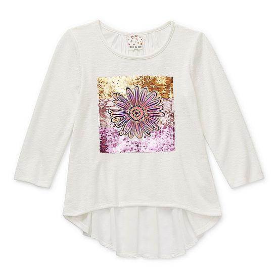 Belle Du Jour Big Girls Scoop Neck 3/4 Sleeve T-Shirt
