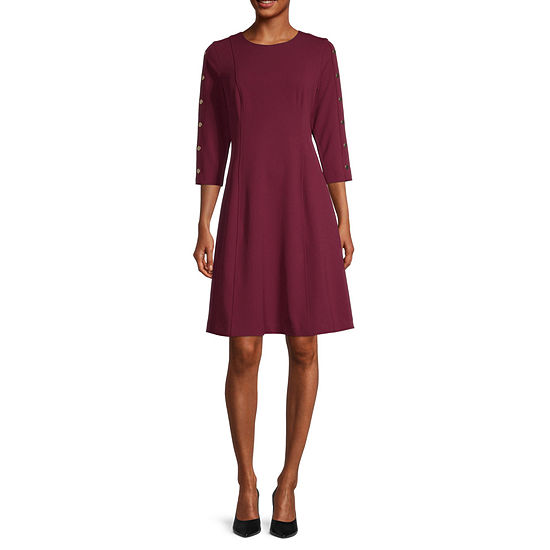 Liz Claiborne 3/4 Sleeve Fit & Flare Dress