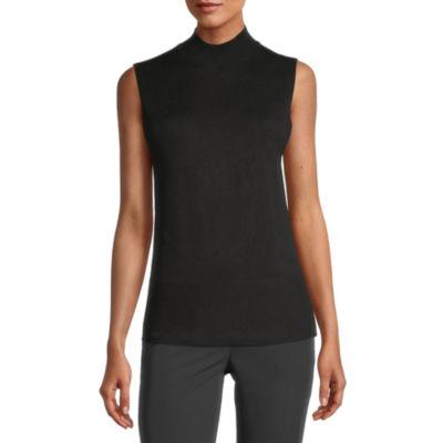 Worthington Womens Mock Neck Sleeveless Pullover Sweater