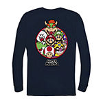 Little & Big Boys Crew Neck Super Mario Long Sleeve Graphic T-Shirt