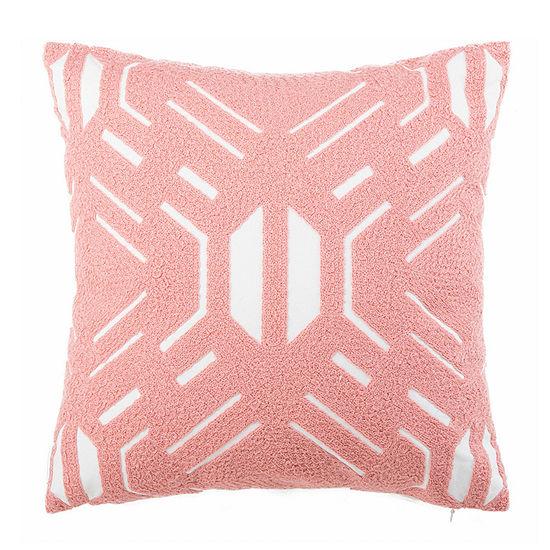 Safavieh Kassidy Blush White Square Throw Pillow