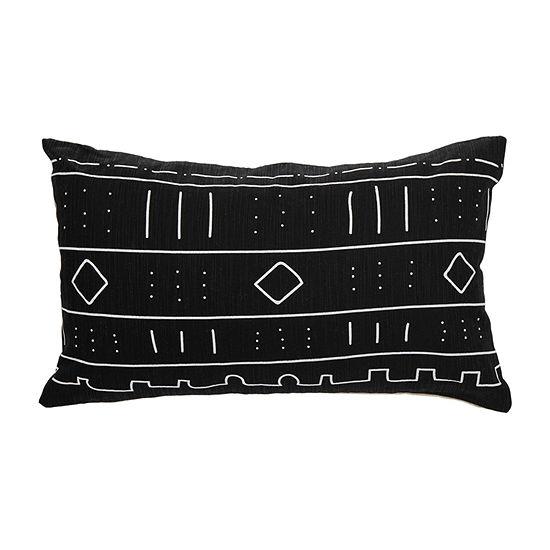 Safavieh Bardon Black White Rectangular Throw Pillow