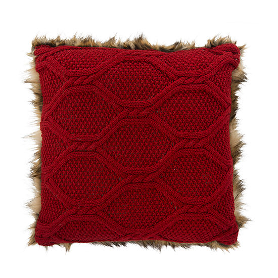 Safavieh Luccia Brown Red Square Throw Pillow
