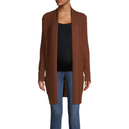 St. John's Bay Womens Long Sleeve Open Front Cardigan, Small , Brown