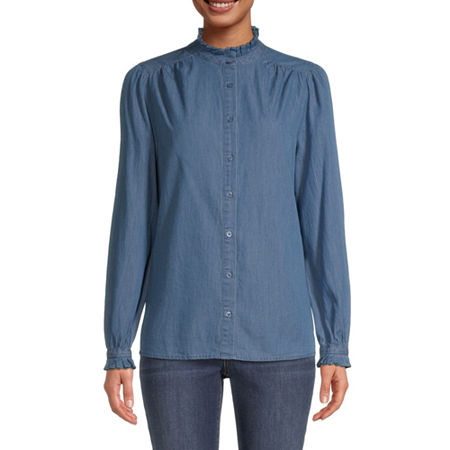 St. John's Bay Womens Mock Neck Long Sleeve Blouse, Small , Blue