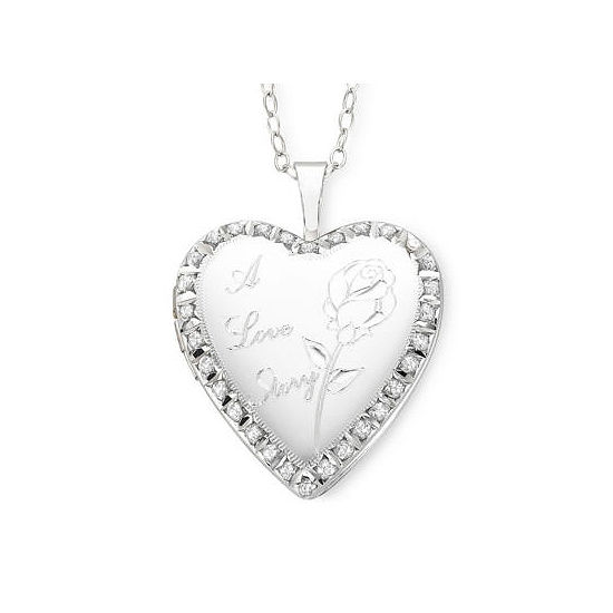 Diamond Accent A Love Story Heart Locket Pendant   Necklace