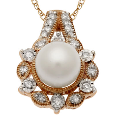 Cultured Freshwater Pearl & White Sapphire Necklace