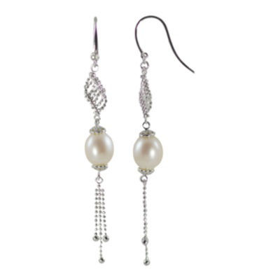 Rice Pearl Tassel Earrings Sterling Silver