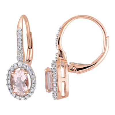Oval Pink Morganite & Diamond Earrings