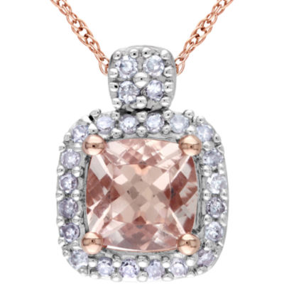 Genuine Morganite & Diamond Pendant Necklace