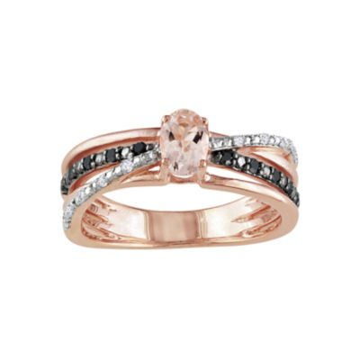 Genuine Morganite, White & Color-Enhanced Black Diamond Crisscross Ring