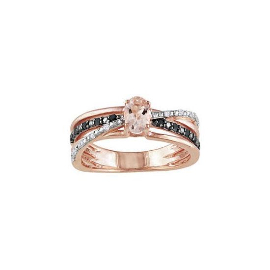 Genuine Morganite, White & Color-Enhanced Black Diamond Crisscross Ring