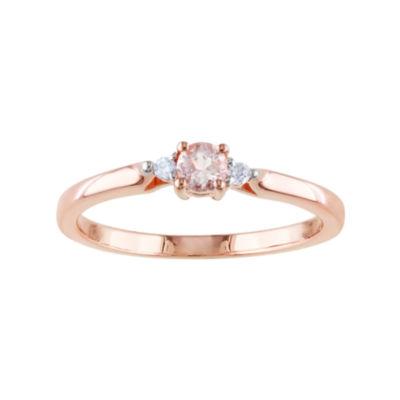 Genuine Morganite and Diamond-Accent Ring