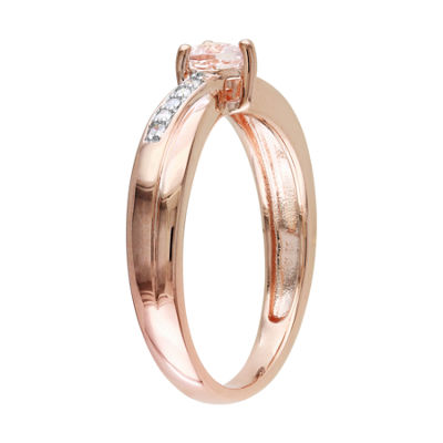 Genuine Morganite & Diamond-Accent Heart-Shaped Ring