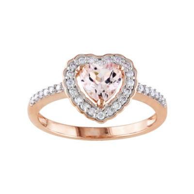 Genuine Morganite and Diamond 10K Rose Gold Heart Ring