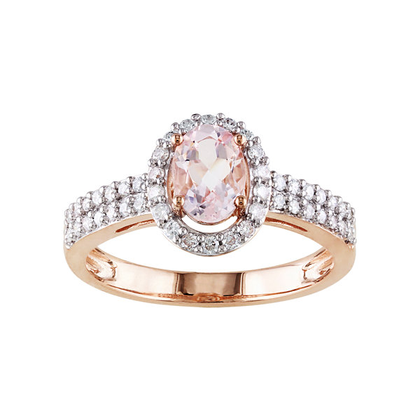 Oval Genuine Morganite and Diamond 10K Rose Gold Ring