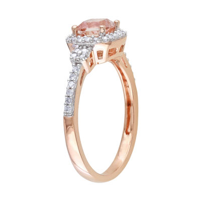 Cushion-Cut Genuine Morganite & Diamond 10K Rose Gold Ring