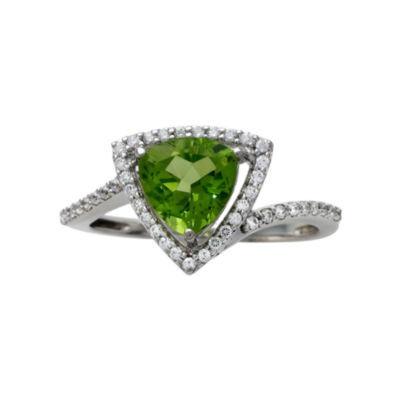 Genuine Peridot & White Topaz Trillion-Cut Ring