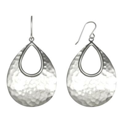 Sterling Silver Hammered Drop Earrings