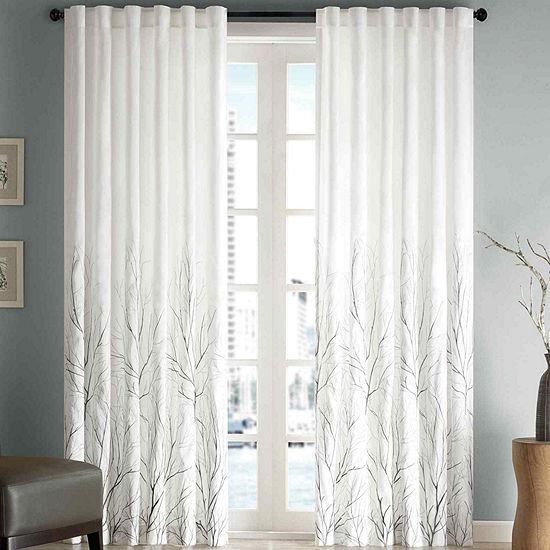 Madison Park Eliza Embroidery Faux Silk Light-Filtering Back-Tab Single Curtain Panel