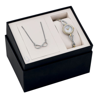 Bulova® Womens Crystal-Accent Infinity Necklace and Bangle Watch Set 98X109