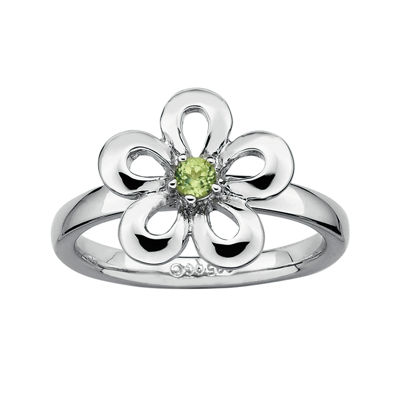 Personally Stackable Genuine Peridot Sterling Silver Flower Stackable Ring