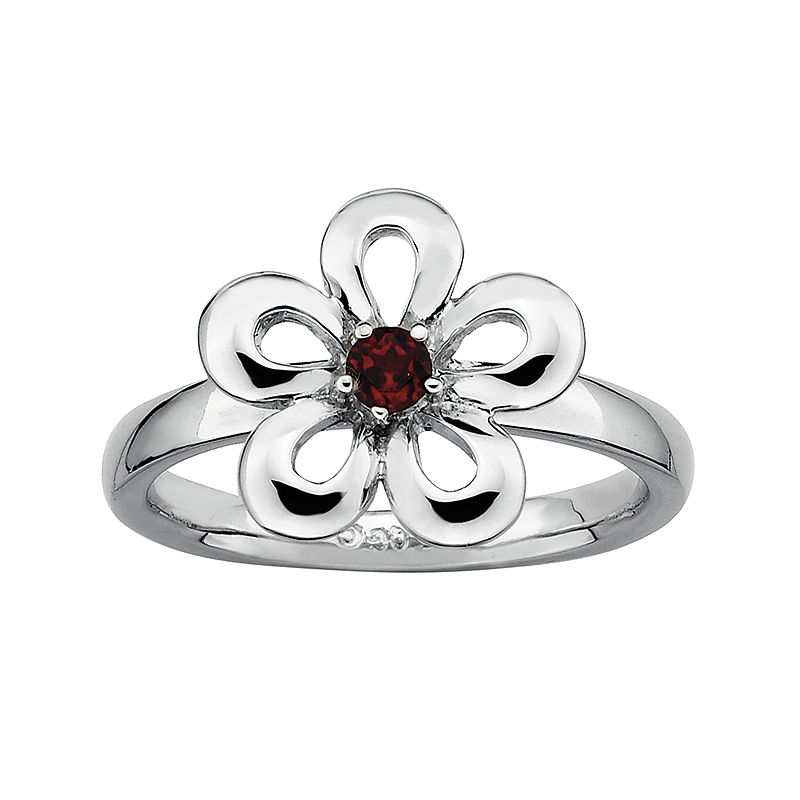 image of Personally Stackable Genuine Garnet Sterling Silver Flower Stackable Ring-pp5004630189