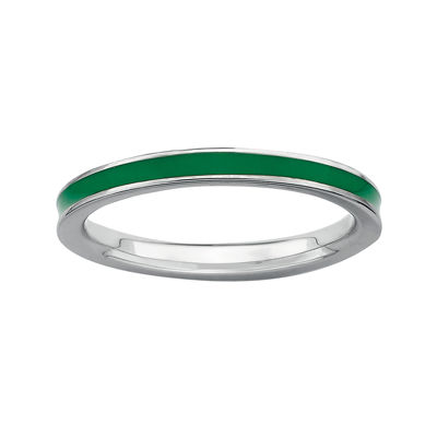 Personally Stackable Sterling Silver Green Enamel Stackable Ring