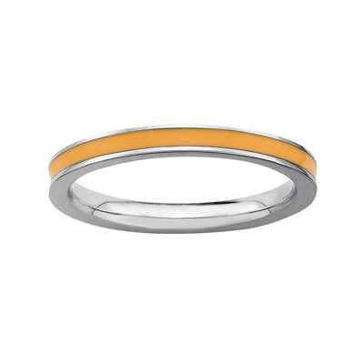 Personally Stackable Sterling Silver Orange Enamel Stackable Ring