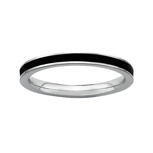 Personally Stackable Sterling Silver Black Enamel Stackable Ring