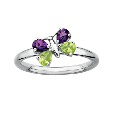 Personally Stackable Genuine Gemstone Sterling Silver Butterfly Ring