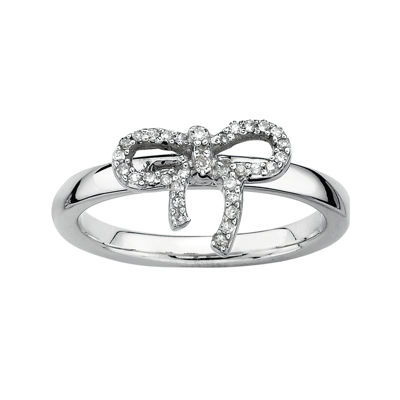 Personally Stackable 1/10 CT. T.W. Diamond Sterling Silver Bow Ring