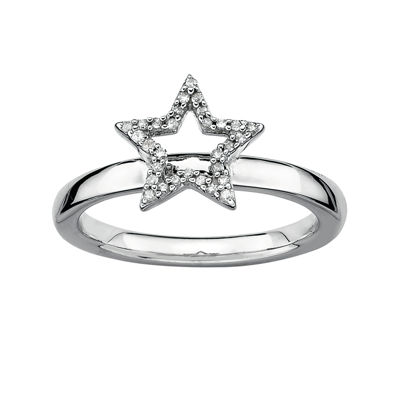Personally Stackable 1/10 CT. T.W. Diamond Sterling Silver Star Ring