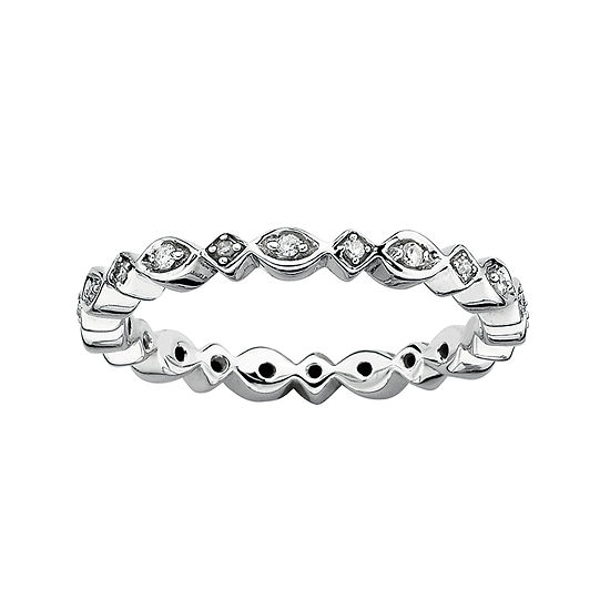 Personally Stackable 1/10 CT. T.W. Diamond Sterling Silver Ring