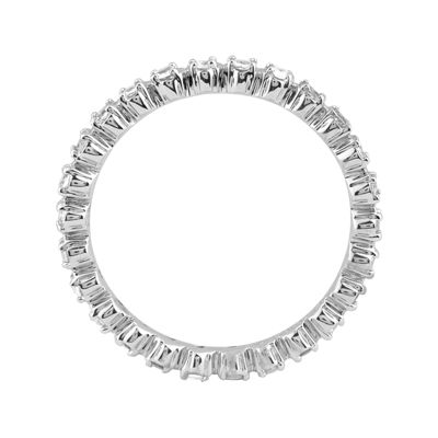 Personally Stackable White Topaz Sterling Silver Eternity Ring