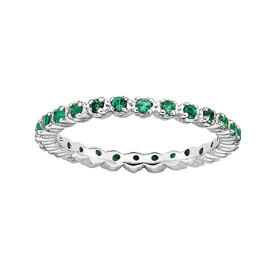 Personally Stackable Lab-Created Emerald Sterling Silver Eternity Ring