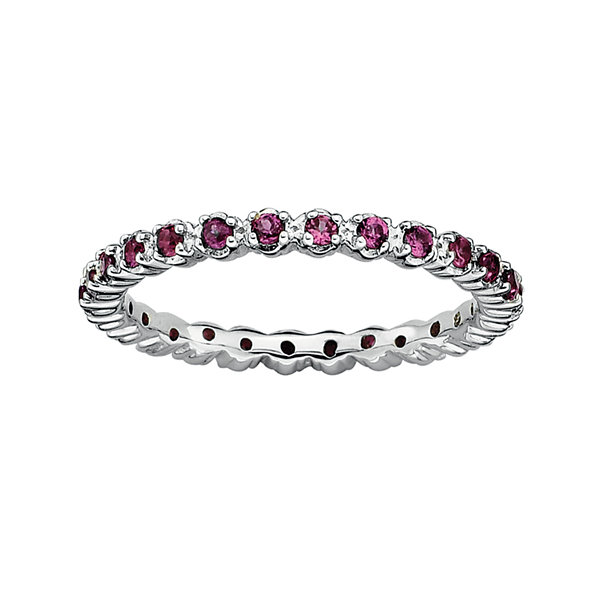 Personally Stackable Genuine Garnet Sterling Silver Eternity Ring
