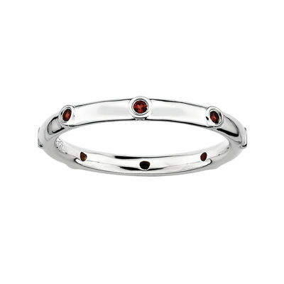 Personally Stackable Genuine Garnet Sterling Silver Station Ring