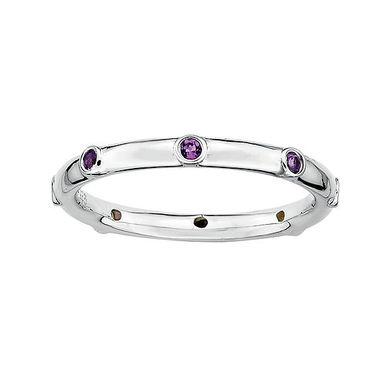 Personally Stackable Genuine Amethyst Sterling Silver Station Ring