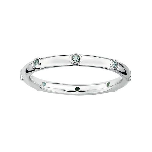 Personally Stackable Genuine Aquamarine Sterling Silver Station Ring