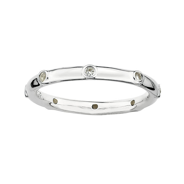 Personally Stackable Genuine White Topaz Sterling Silver Station Ring