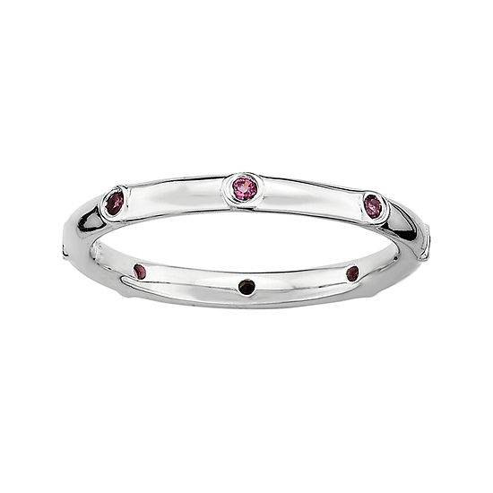 Personally Stackable Genuine Rhodolite Sterling Silver Station Ring
