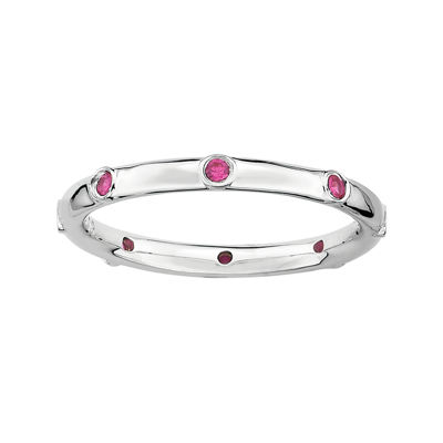 Personally Stackable Lab-Created Ruby Sterling Silver Station Ring