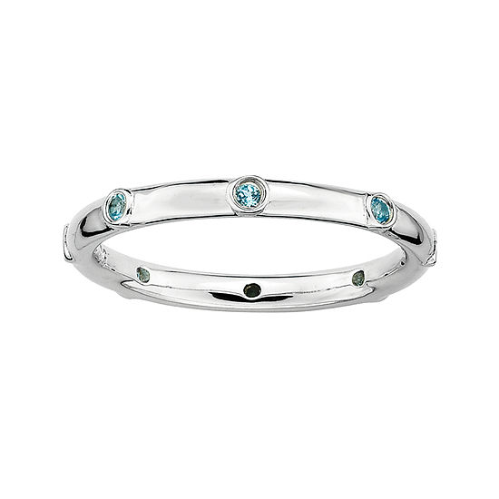 Personally Stackable Genuine Blue Topaz Sterling Silver Station Ring