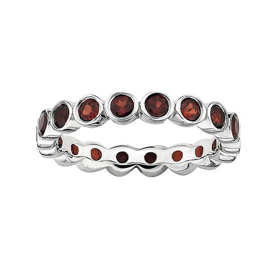 Personally Stackable Genuine Garnet Sterling Silver Eternity Ring