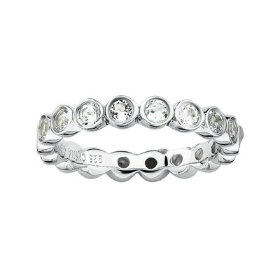 Fine Jewelry Personally Stackable Genuine White Topaz Sterling Silver Eternity Ring fnBhPSHJh