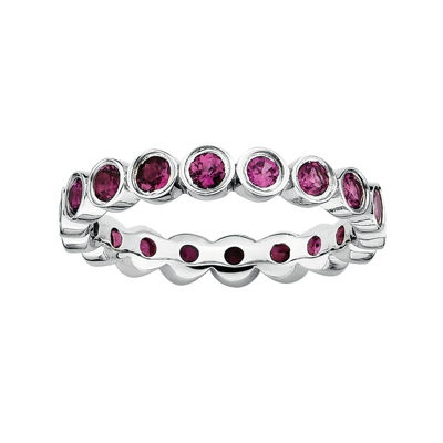 Personally Stackable Genuine Rhodolite Garnet Sterling Silver Eternity Ring