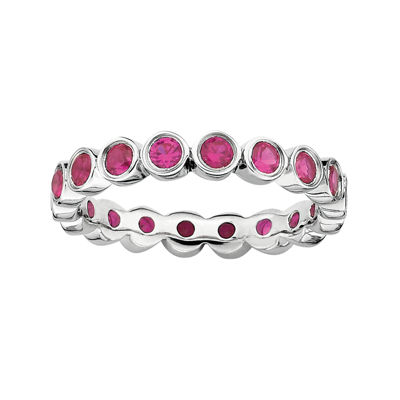 Personally Stackable Lead Glass-Filled Ruby Sterling Silver Eternity Ring