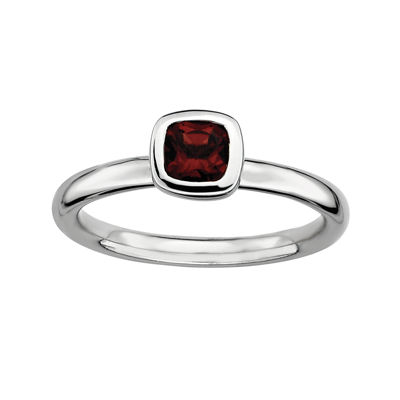 Personally Stackable Cushion-Cut Genuine Garnet Sterling Silver Ring