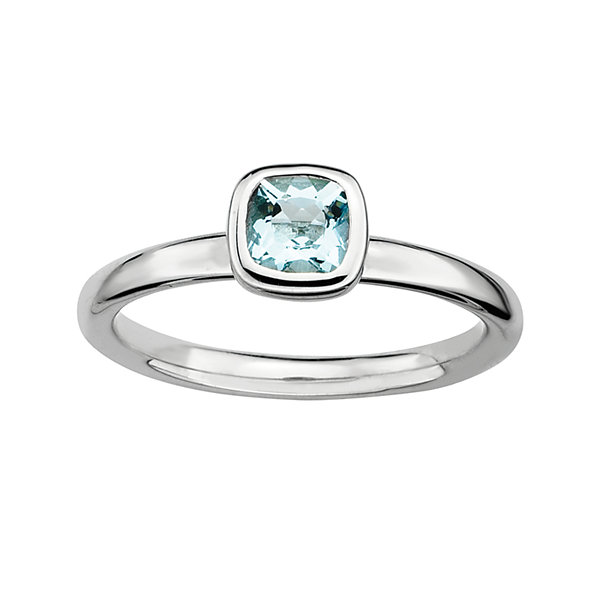 Personally Stackable Cushion-Cut Genuine Aquamarine Sterling Silver Ring